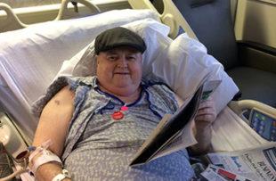 Steve Connair in his bed at Tidelands Georgetown Memorial Hospital