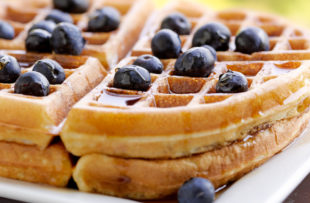 Banana waffles with blueberries.