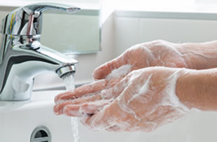 Someone washing hands