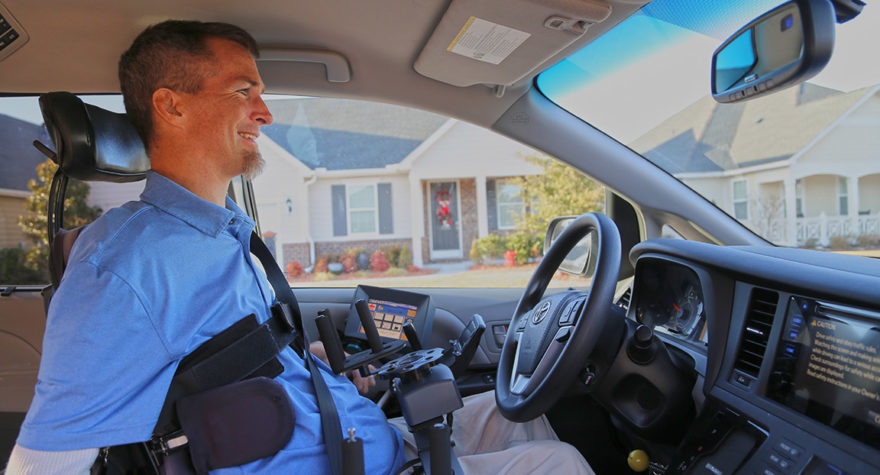 Chris Skinner uses adaptive equipment to drive.