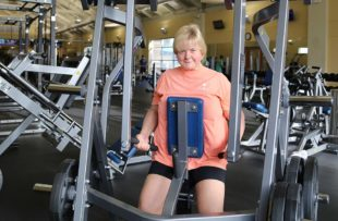 Sandra Shaw lifts weights at Tidelands HealthPoint Center for Health and Fitness