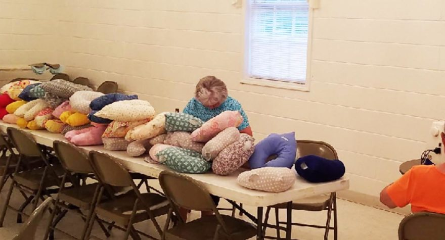 Big give: 212 handmade pillows donated in honor of breast cancer survivor