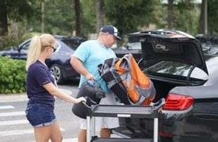 A Tidelands Health team member preparing unloading gear to shelter at Tidelands Waccamaw Community Hospital.