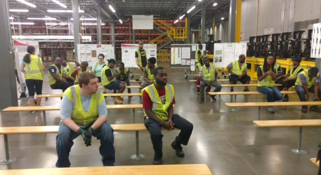 Cardinal Health team members inside the company's Atlanta warehouse.