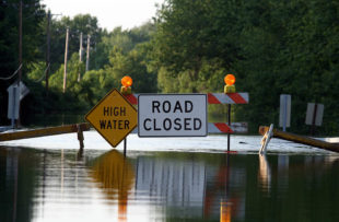 A road closed due to flooding.