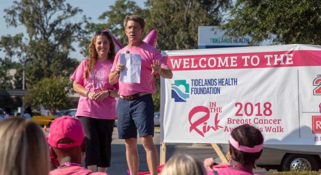 "Tidelands Health breast surgeon Dr. Craig Brackett speaks to the crowd at the 2018 ""In The Pink"" Breast Cancer Awareness Walk"