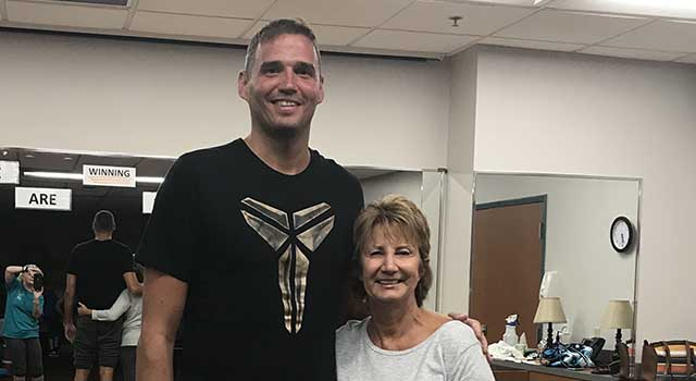 Andy Hipsher with Barbara Kaiser, a yoga instructor at Tidelands HealthPoint.