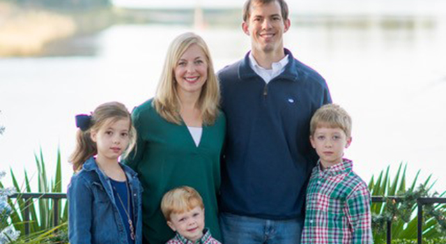 Dr. Alex Duvall, his wife, Claire; daughter Lydia, 10; son Luke, 7; and son David, 4.