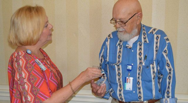 Dick Pangburn was honored with the President's Volunteer Service Award for his volunteerism. He has donated 4,060 hours of volunteer time at Tidelands Georgetown Memorial Hospital.