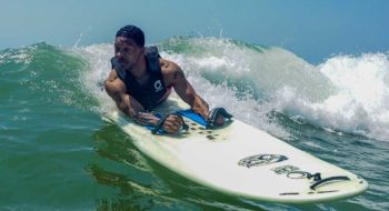 Ernie Johnson has overcome paralysis to become a champion surfer. Photo courtesy of David Vennell.