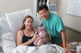 Drs. Monica Selander and Earn Han shortly after the birth of daughter Luna Rey Han.
