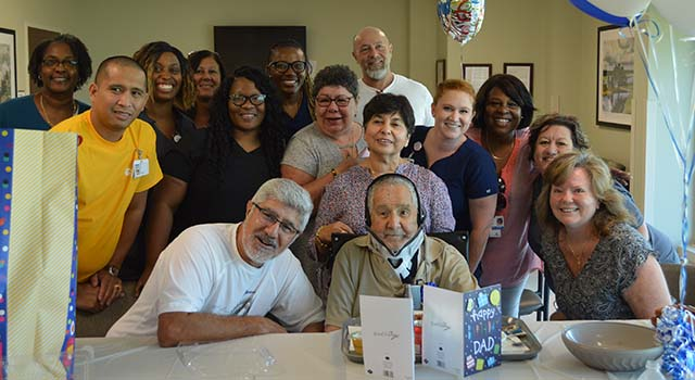 Oscar Sanchez, a patient at Tidelands Health Rehabilitation Hospital, an affiliate of Encompass Health, celebrates his 100th birthday Saturday with a special party organized by the hospital staff.