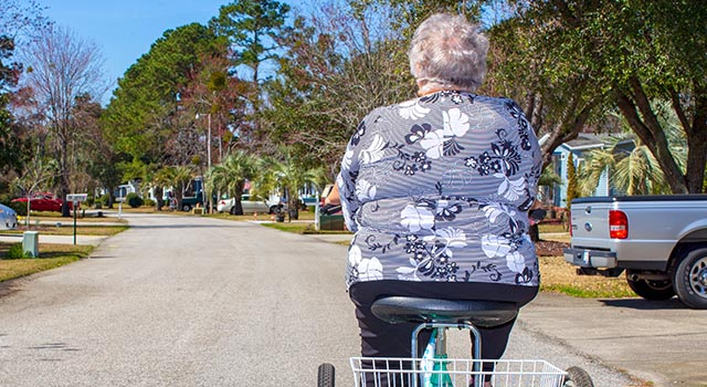 Margaret Jones enjoys a bike ride through her Murrells Inlet neighborhood.