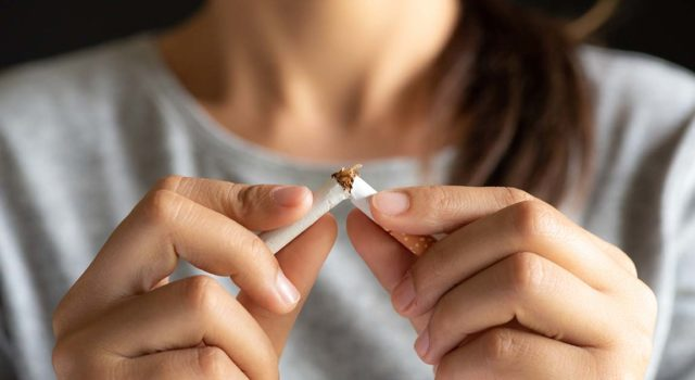 Woman quits smoking