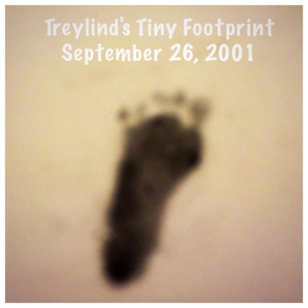 Treylind's tiny footpring from his birth on Sept. 26, 2001.
