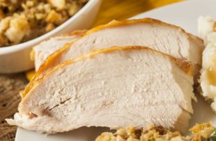 White meat turkey slices