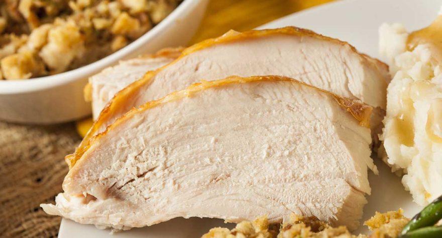 White meat turkey slices