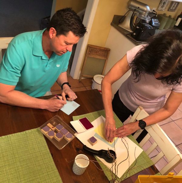 Don Williams, senior pastor at Pawleys Island Community Church, and his wife, Ginny Williams, create cards showing support and expressing appreciation to team members at Tidelands Health.