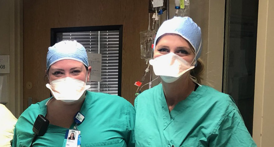 Nurses Erin Autin and Abby Davis of the Tidelands Georgetown critical care unit.