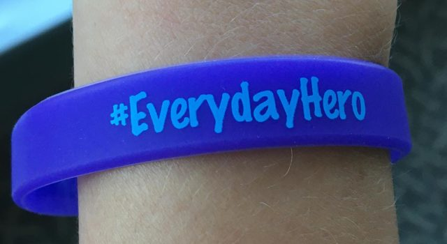 "The bracelets given to the team on 2 East at Tidelands Waccamaw are inscribed with the words ""#EverydayHero"" on one side and, next to a heart, ""The Mandel-McGuire family"" on the other."