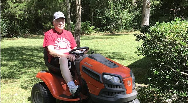 Life is returning to normal for Jim Capicotto, who enjoys spending time in his shop and mowing the lawn, among other activities.