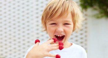 Delighted boy eating raspberries