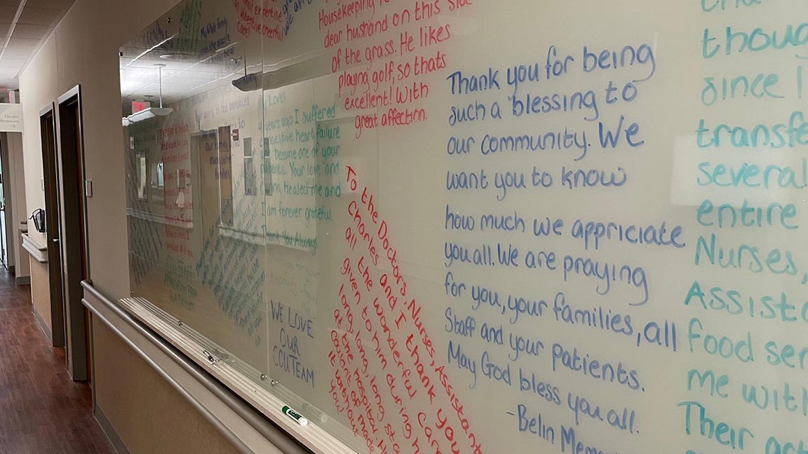 A wall of thanks at Tidelands Waccamaw Community Hospital is a visual testament to the dedication, sacrifice and skill of the hospital's critical care team.