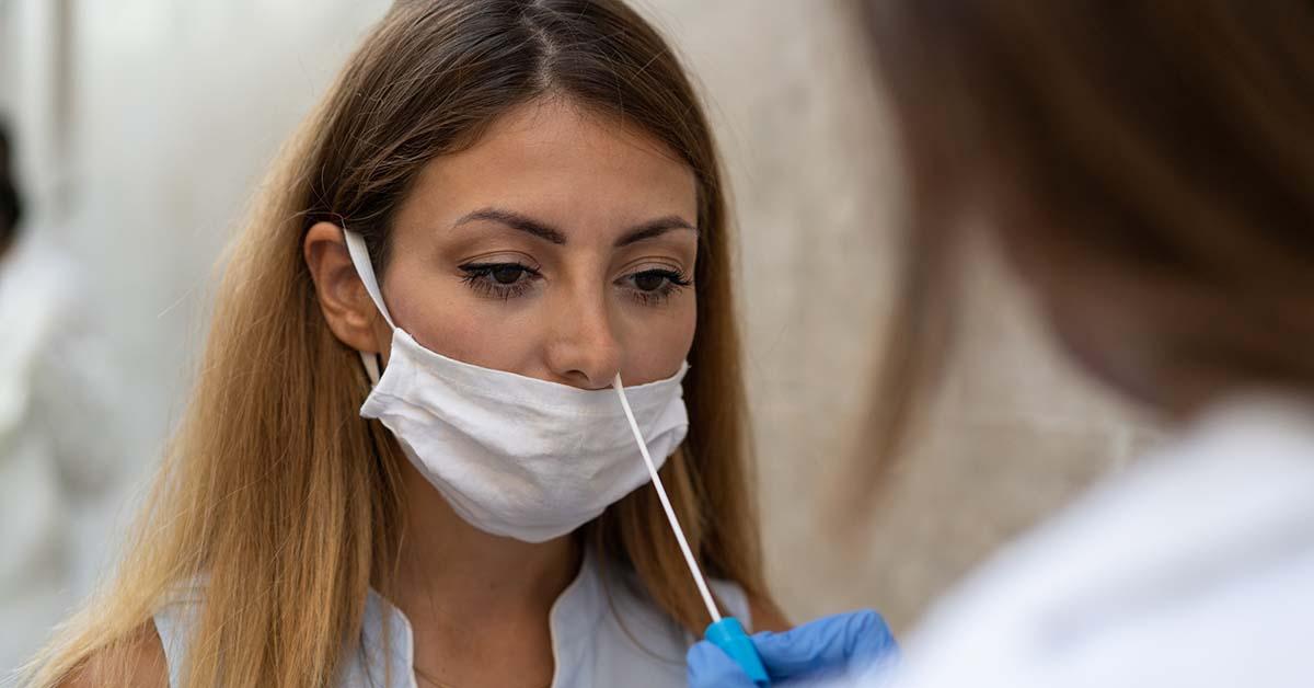 Woman undergoing COVID-19 test